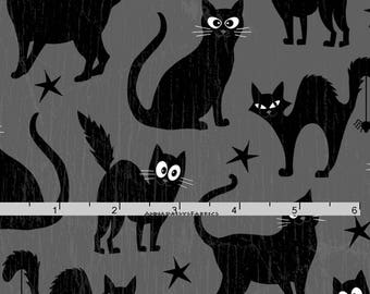 Black Cat Fabric, Glow in the Dark, Henry Glass Fabric  Fangtastic with Glow 1096G 90, Halloween Quilt Fabric, Cat Quilt Fabric, Cotton