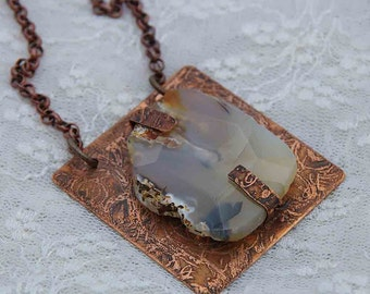 Etched Copper and Agate Necklace - Of the Earth
