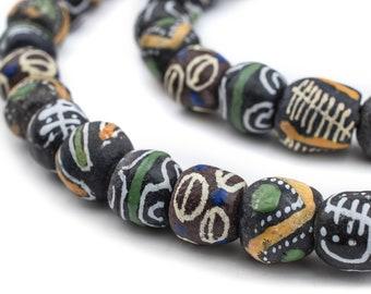 55 Shaka Medley Krobo Beads - African Beads - Painted Glass Beads - Tribal Beads - Jewelry Making Supplies - Made in Ghana (KRB-RND-MIX-113)