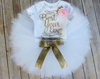 Gold first birthday tutu outfit, Gold glitter One bodysuit, Girls first birthday outfit, Golden 1st birthday, Cake Smash outfit, White Tutu