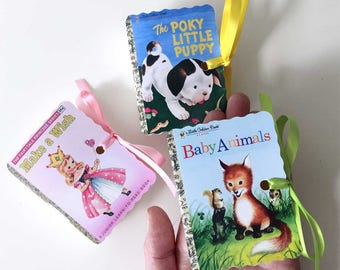 Little Golden Books Mini Book Party Favors | Miniature Birthday Boy Girl Baby Shower | Poky Puppy Animals Wish Plane Fairy | Personalize 20