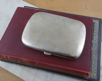 Vintage  Cigarette Case, Mid Century Alpaca Silver Metal, Vintage Business Card Case