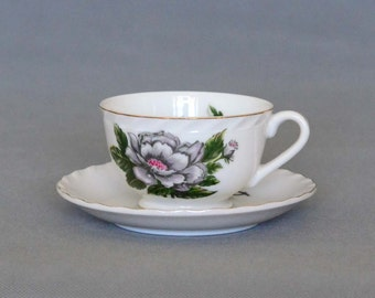 Vintage Royal Sealy China Tea Cup and Saucer Made In Japan - Floral Pattern Grey Wild Roses with Pink Centers.