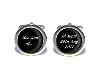 Personalsied Wedding Cufflinks See You At...Date, Time, Place