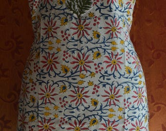 Hand Block Printed Cotton Hand Made Floral Ethnic Tunic/Kurta/Dress