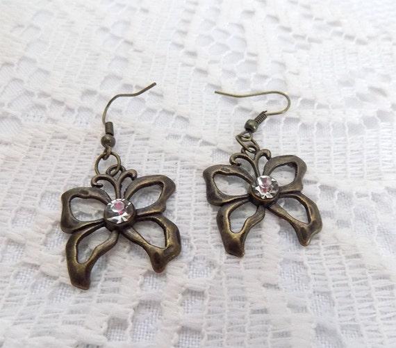 bronze tone small butterfly earrings