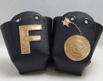 Leather Toe Guards with the F Bomb in Gold