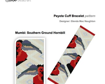 Mumbi - Southern Ground Hornbill PDF peyote bracelet: Instant Downloadable Pattern PDF File