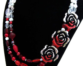 Classic Literature Collection: Alice in Wonderland, Red Queen, Queen of Hearts, Painting the Roses Red Necklace w/ Red and White Ombre Beads