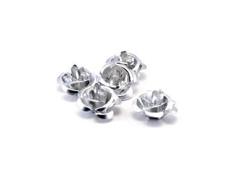 Set of 10 Pink Silver Aluminum