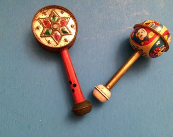 Vintage Child's Tin Metal Rattle Noise Makers Japan USA