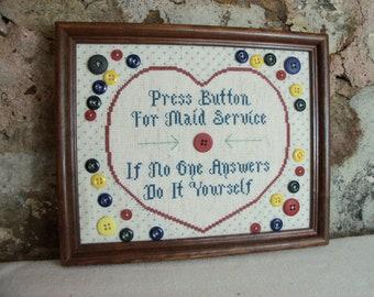 Handmade Wall Art Cross Stitch Buttons Humor