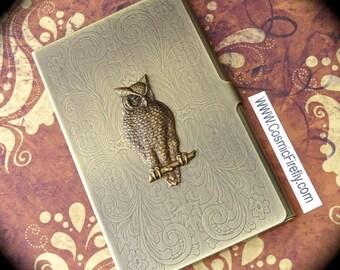 Brass Owl Business Card Case Antiqued Brass Card Case Vintage Inspired Victorian Steampunk Card Case Vintage Inspired