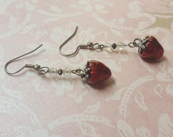 INNOCENCE. PURITY. PEACE. - Stunning Strawberries and Swarovski Earrings - Red and Silver Strawberry Clear Crystal - Tiny Spark Studio
