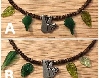 Sloth Coconut Bead Necklace