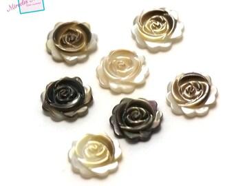 "2 beads half hole Pearl ""flower 10 x 3 mm"""