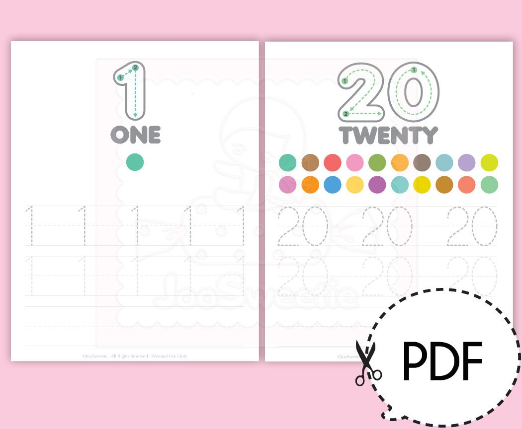 Number 1-20 Writing Practice Sheets-Printable PDF Download from ...