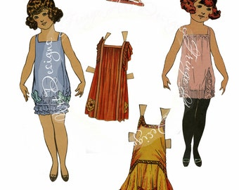Vintage Paper Dolls Roaring Twenties Digital Instant Download for ACEO, ATC, Collage, Scrapbooking, Altered Art, Hang tags