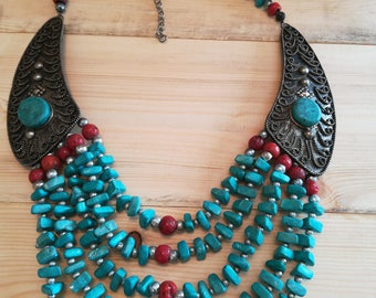 Layered multi strand turquoise and coral statement necklace