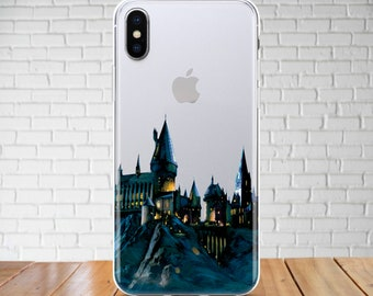 Hogwarts School case iPhone X Potter Castle case Galaxy S9 Harry Potter TPU case iPhone 8 Clear case iPhone 7 Samsung Note 8 Pixel 2 iPod 6