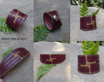 Leather bracelet handmade with St. Brigit cross by special order