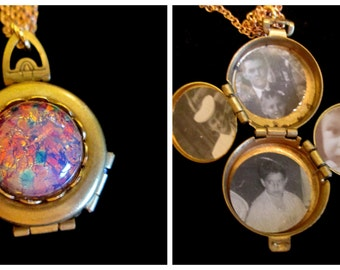 Harlequin Opal - Vintage  4 Picture Locket Necklace