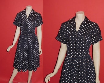 ON SALE Vintage 1950's Lucy 50's Polka Dots House Day Dress Midnight Blue Womens Dress - M