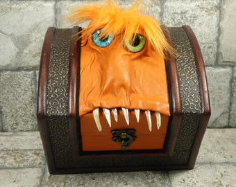 Mimic Storage Dice Box Desk Organizer Stash Treasure Chest Pencil Box Orange Leather Harry Potter Labyrinth Monster 15