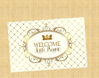 Royal Baby Shower Backdrop, Royal baby Shower Welcome Sign, Baby Shower Backdrop, Royal Baby Shower, Little Prince Baby Shower Backdrop, PDF