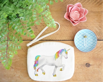 Unicorn Canvas Zip Bag, Makeup Bag, Coin Purse, Small Accessory Pouch, Stocking Filler, Unicorn Gift, Unicorn Party