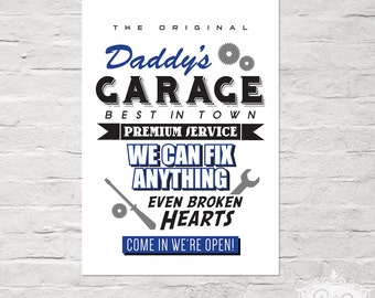 "Typo Art Print ""Daddy's GARAGE"" DinA 4 Typographie Druck by cute as a button"