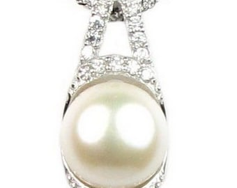 White pearl pendant, 925 sterling silver crystal pendant, freshwater pearl pendant, real pearl necklace for ladies, 11-12mm, F2435-WP
