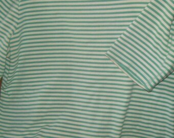 Women's Land's End Green White Striped Top With Faux Shoulder Buttons L 14/16