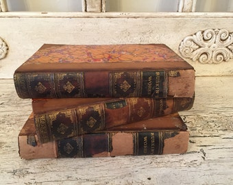 Small Antique Leather Book Stack - Rustic Home Decor - Library Wedding Book Bundle - Beautiful Marbled Covers