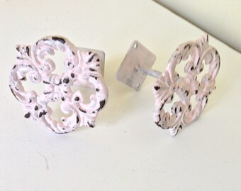 Shabby chic curtain tie back, drapery tie back, Set of two light pink, wrought iron