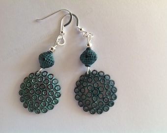 Blue patina oxide earrings