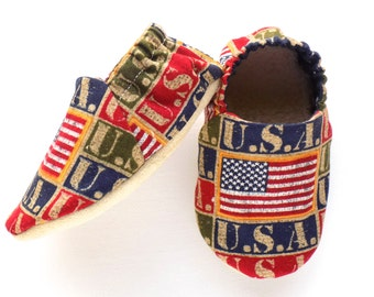 American Flag Baby Shoes, Patriotic Baby Booties, July 4th, Stars and Stripes, Soft Shoes, Slip On Shoes, Baby Gift