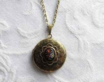 Sale- Black Floral Bouquet, Embossed Locket Necklace with Vintage Glass Cameo