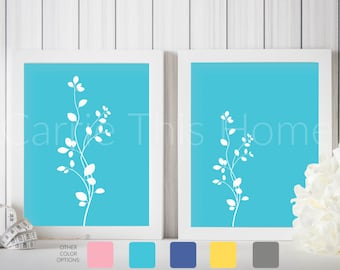 Printable art set | turquoise flowers | instant download | living room decor | gallery wall art