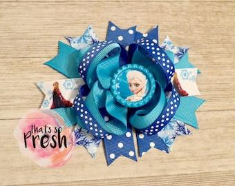 Elsa Hair Bow, Frozen Hair Bow, Elsa and Anna, Frozen Birthday, Frozen Party, Frozen Outfit, Frozen Party Favors, Frozen hair clip