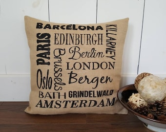 Travel Locations Pillow Cover.  Memories Pillow. Burlap Pillow Cover. Saying Pillow Cover. Zipper enclosure. Rustic home decor. Rustic Chic.