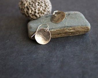 Sterling Silver Earrings - 12mm Medium Round Disk Dangle Drop Circle Minimalist Rustic Oxidized Hammered Textured Metalwork Jewelry