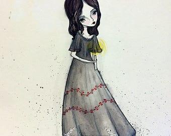 Fine Giclee Art Print - 'Little Haunted Girl' - Art Print - 8x10, 8.5x11 , 11x17 - Jessica von Braun illustration - Ghost Girl with Candle