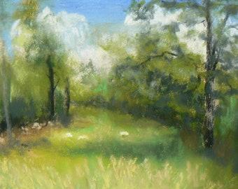 Sheepish  Original Pastel Painting Landscape Farm Sheep