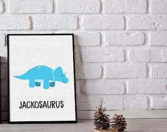Personalised triceratop print - dinosaurs print - boys room prints - girls room prints - dino print - custom prints - kids room prints