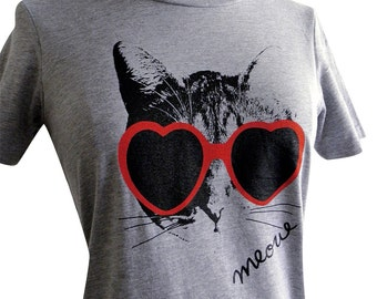 Heart Sunglasses Kitty Meow Cat Ladies T Shirt - (Available in sizes S, M, L, XL, 2XL)