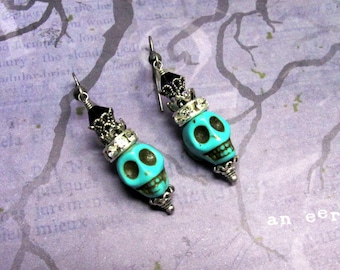 Turquoise Skull Earrings, Halloween Earrings, Dia De Los Muertos, Day of the Dead, Skull Earrings, Skull Jewelry, Halloween Jewelry, Holiday
