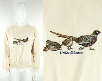 """80s French """"Odd Duck"""" Sweater Size Embroidered Francais Oiseau Strange Bird Birds Watcher Weird Grunge Lover Beige Natural Animal Pheasant"""