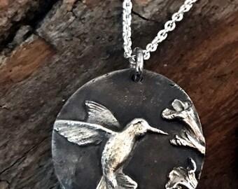 Fine Silver - Hummingbird Necklace