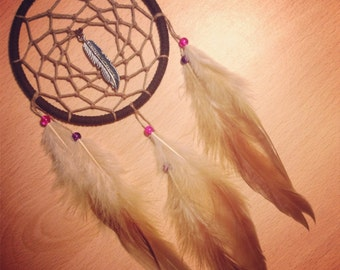 Brown dream catcher, faux suede, light brown web, rooster feathers and silver feather charm finish 10cm diameter dreamcatcher hand made